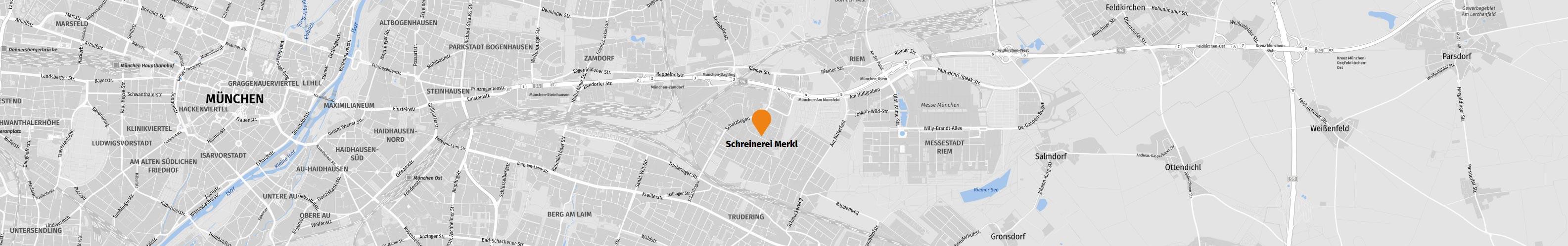 Standort von Schreinerei Merkl in München